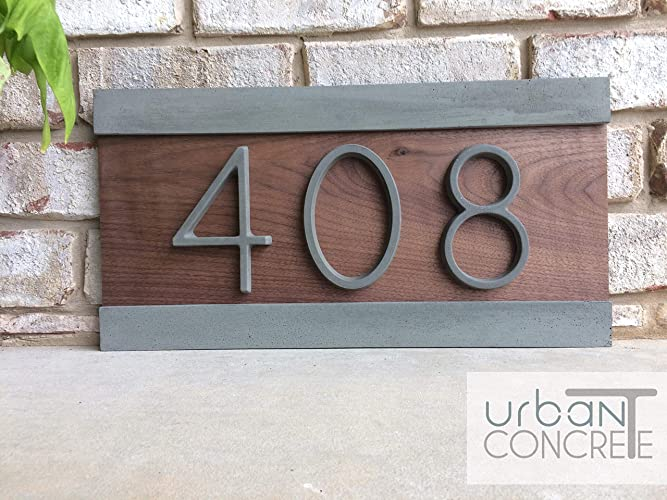 4065cfea2aed Modern House Numbers, House Numbers Sign, Modern,Wood and Concrete Address  Plaque, Custom house Address Sign, Realtor Closing Gift, ...