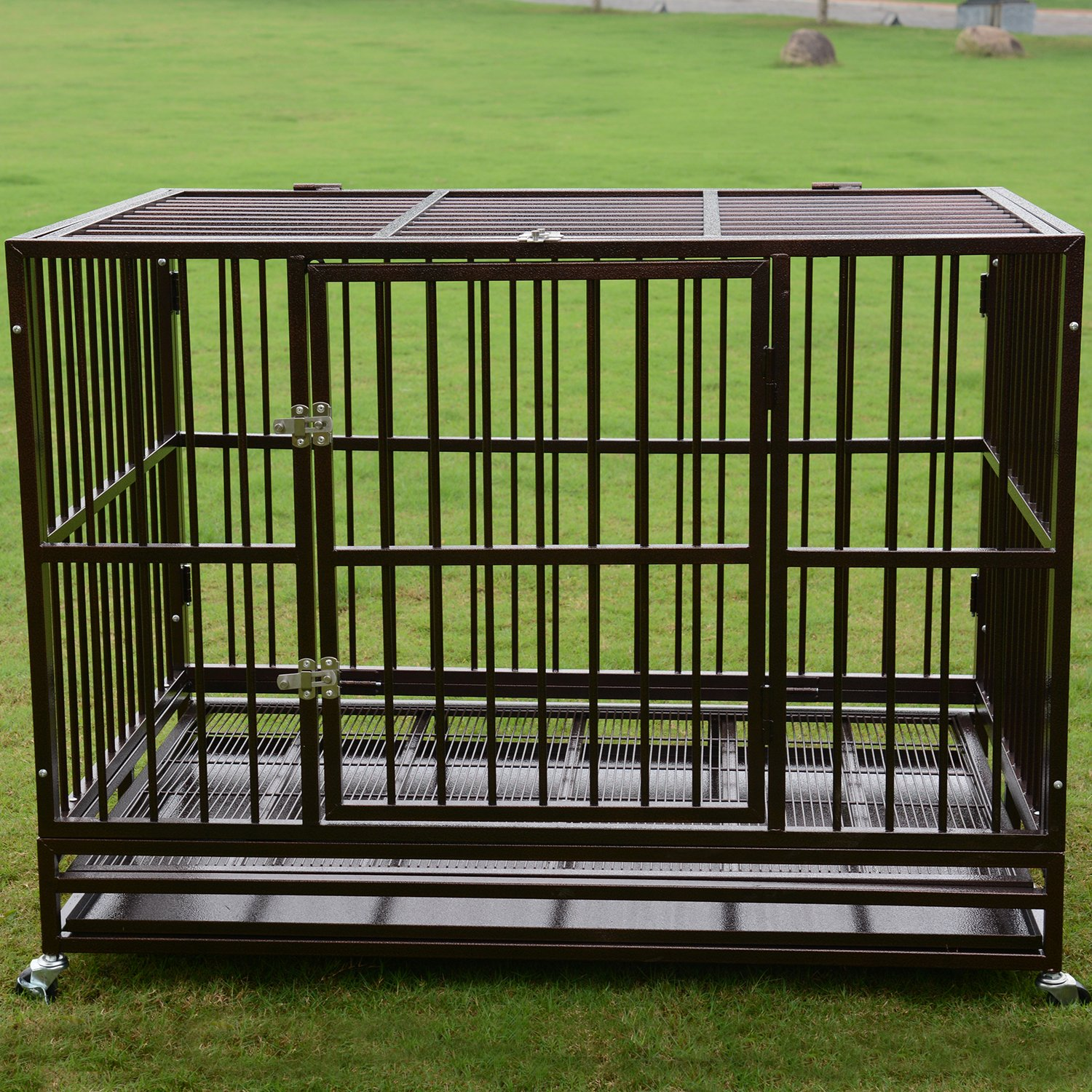 PANEY 48'' Large Dog Crate Kennel Folding Heavy Duty Dog Cage with Metal Tray Wheels Pet Playpen by PANEY