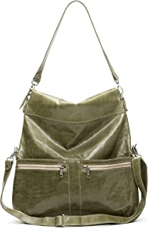 product image for Distressed Olive Italian Leather Large Convertible Foldover Crossbody