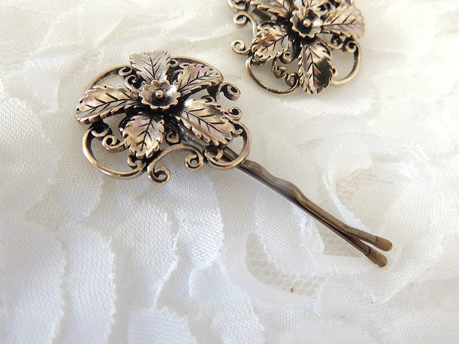 Amazon.com: Sara Attali Design Lovely Vintage Hair Clip leaves and flowers  Designer Decorations: Everything Else