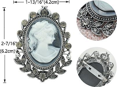 9446b5793 Matte Silvery Tone Vintage Cameo Victorian Lady Maiden Crystal Rhinestone  Brooch Pin BZ092. Gyn&Joy Matte Silvery Tone Vintage Cameo Victorian Lady  ...