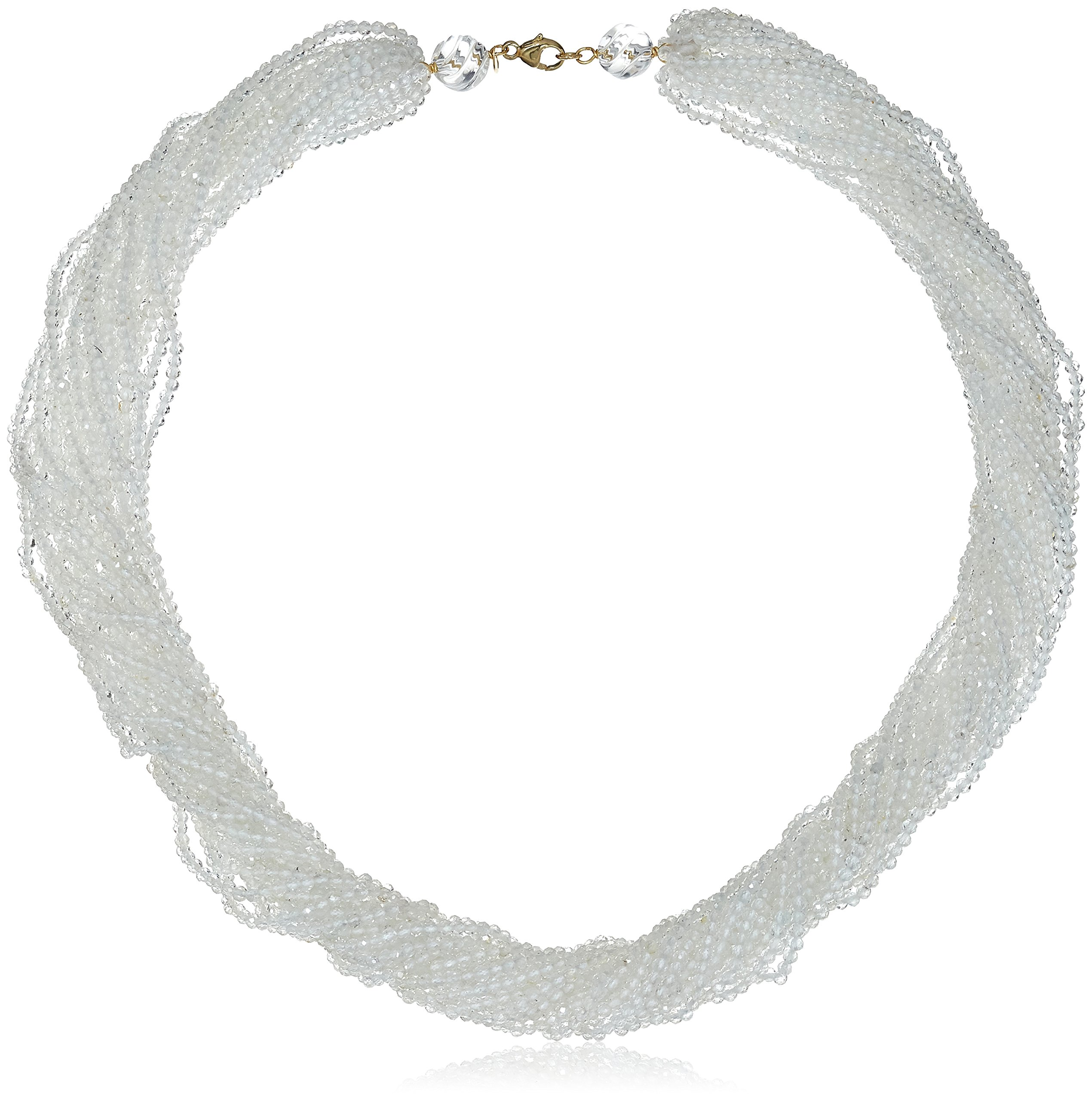 14k Yellow Gold 2-3mm Faceted White Topaz 20-Rows Twisted Necklace, 18''