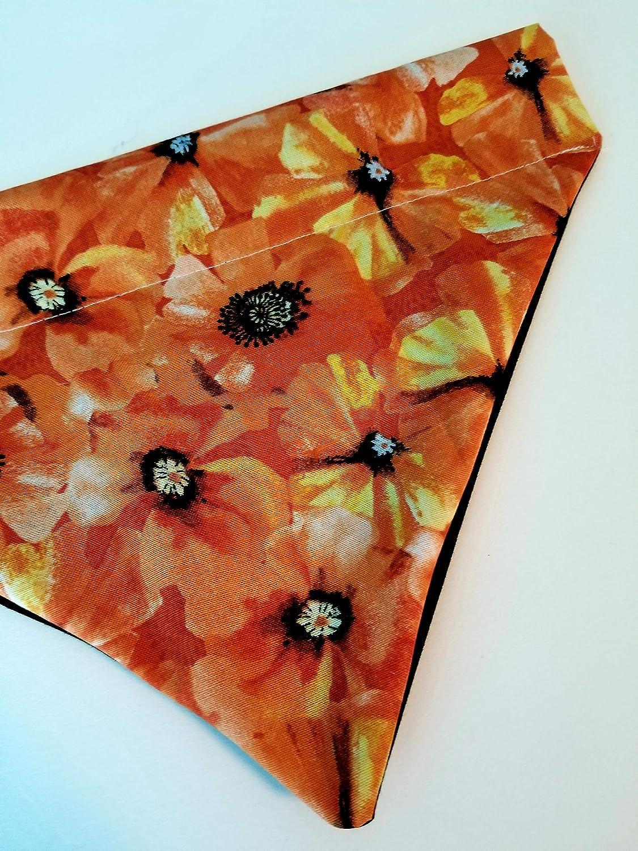 Orange Poppy Flowers Summer Over the Collar Dog Bandana Large