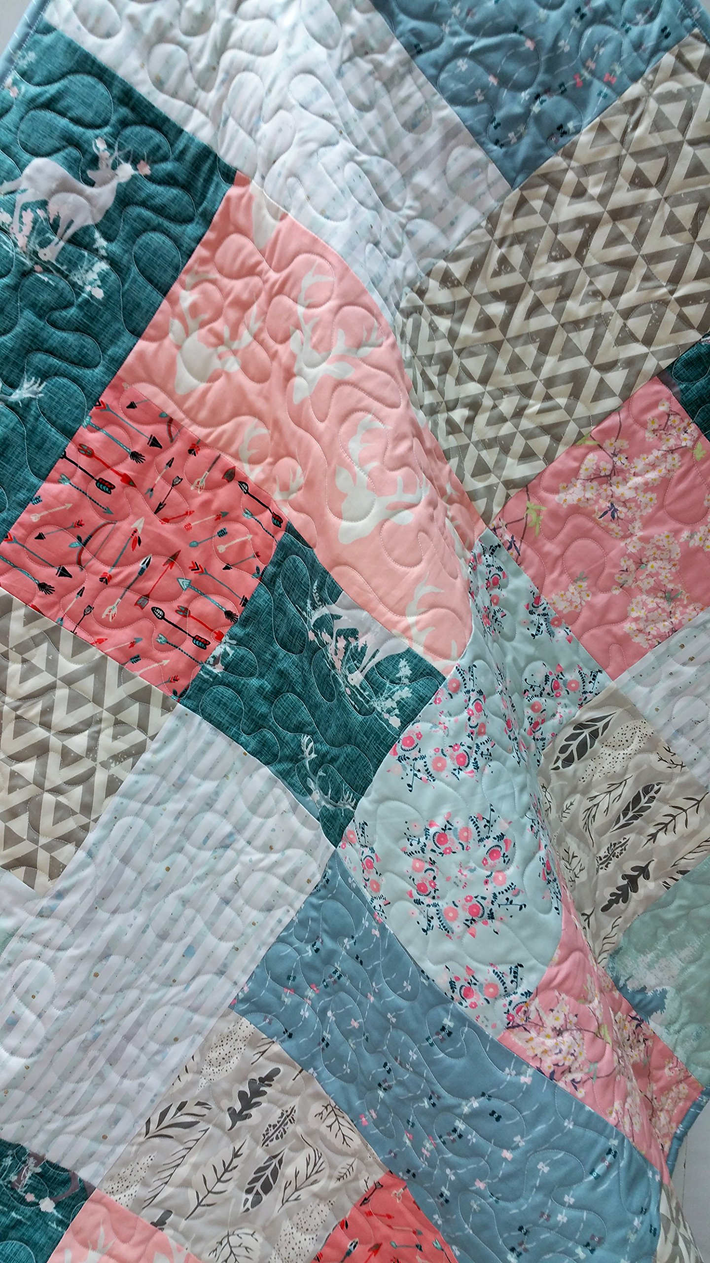 Woodland Toddler/Baby Girl Quilt in Blues and Pink