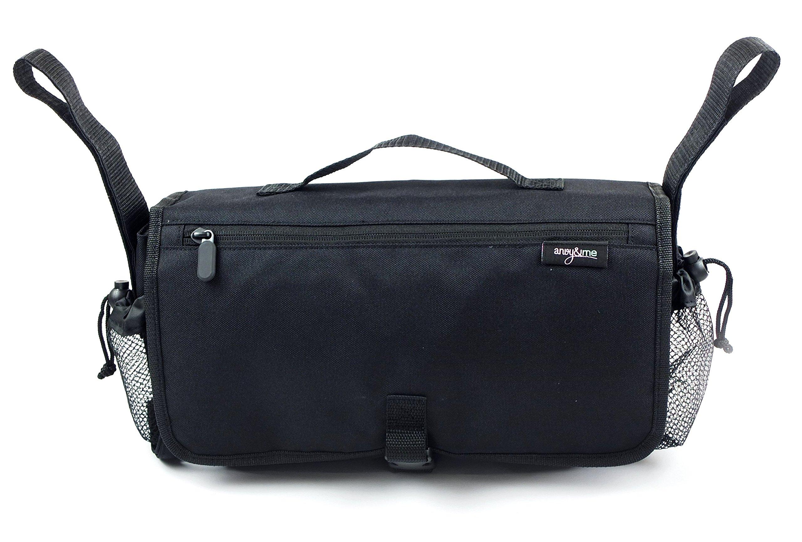 Anvy & Me Stroller Organizer Diaper Bag, Black