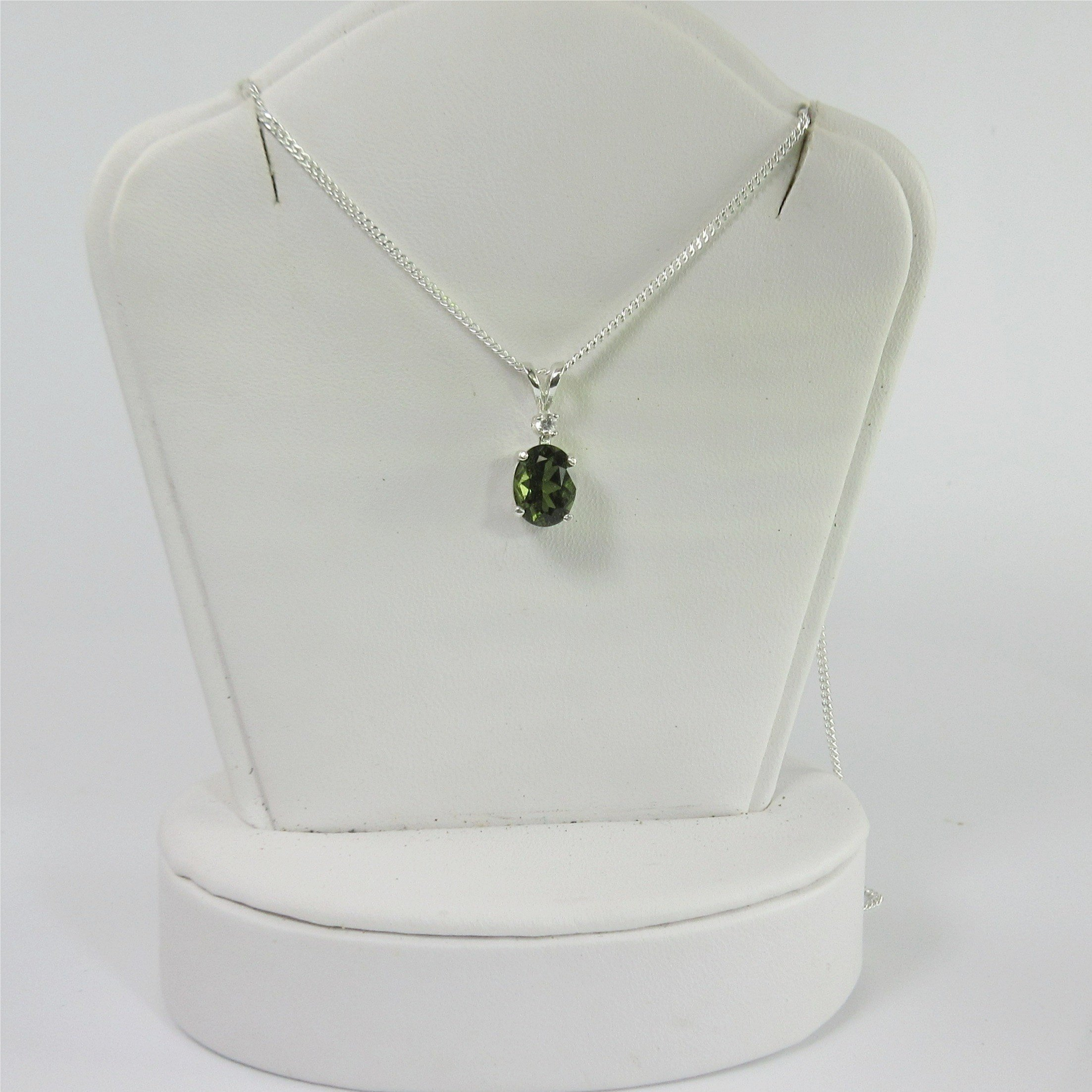 Moldavite Faceted 8x6mm Danburite Accent Sterling Silver Necklace