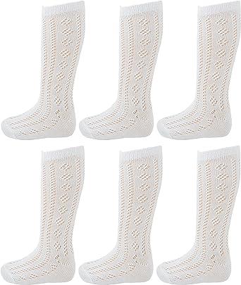 Pelerines Childrens Kids Girls Plain School Socks Sock Long White 3 Pairs