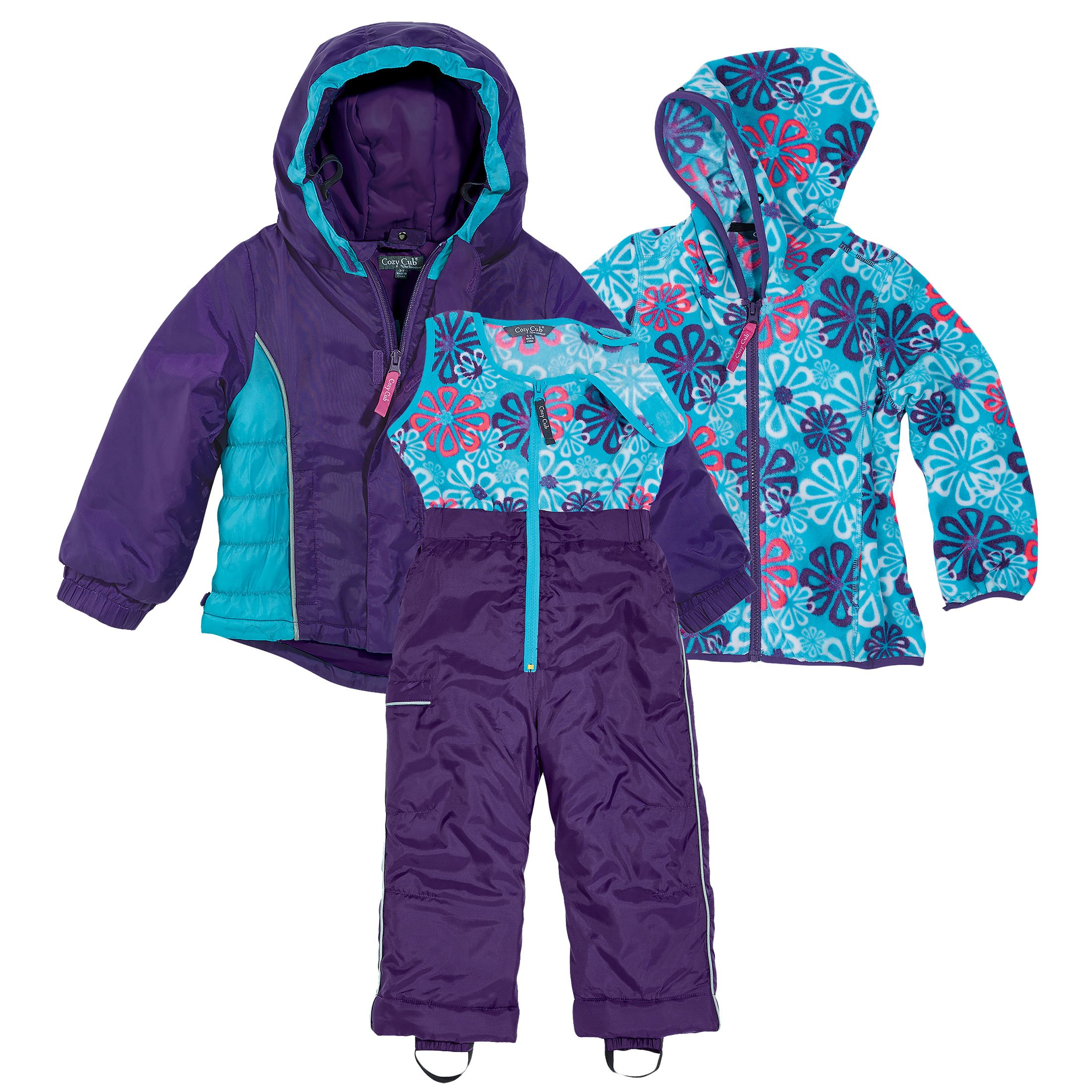 Purple and Blue Girls 3 Piece Winter Snow Suit by Cozy Cub, Size 2T