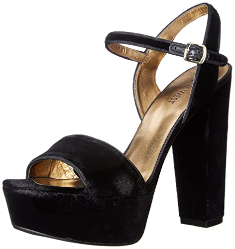 Nine West Women's Carnation Fabric Heeled Sandal, Black Velvet, ...