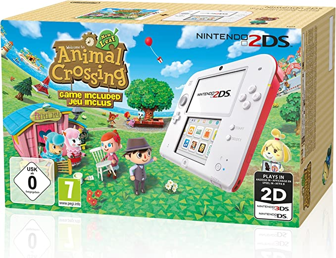 Console Nintendo 2Ds - Blanc & Rouge + Animal Crossing : New Leaf ...