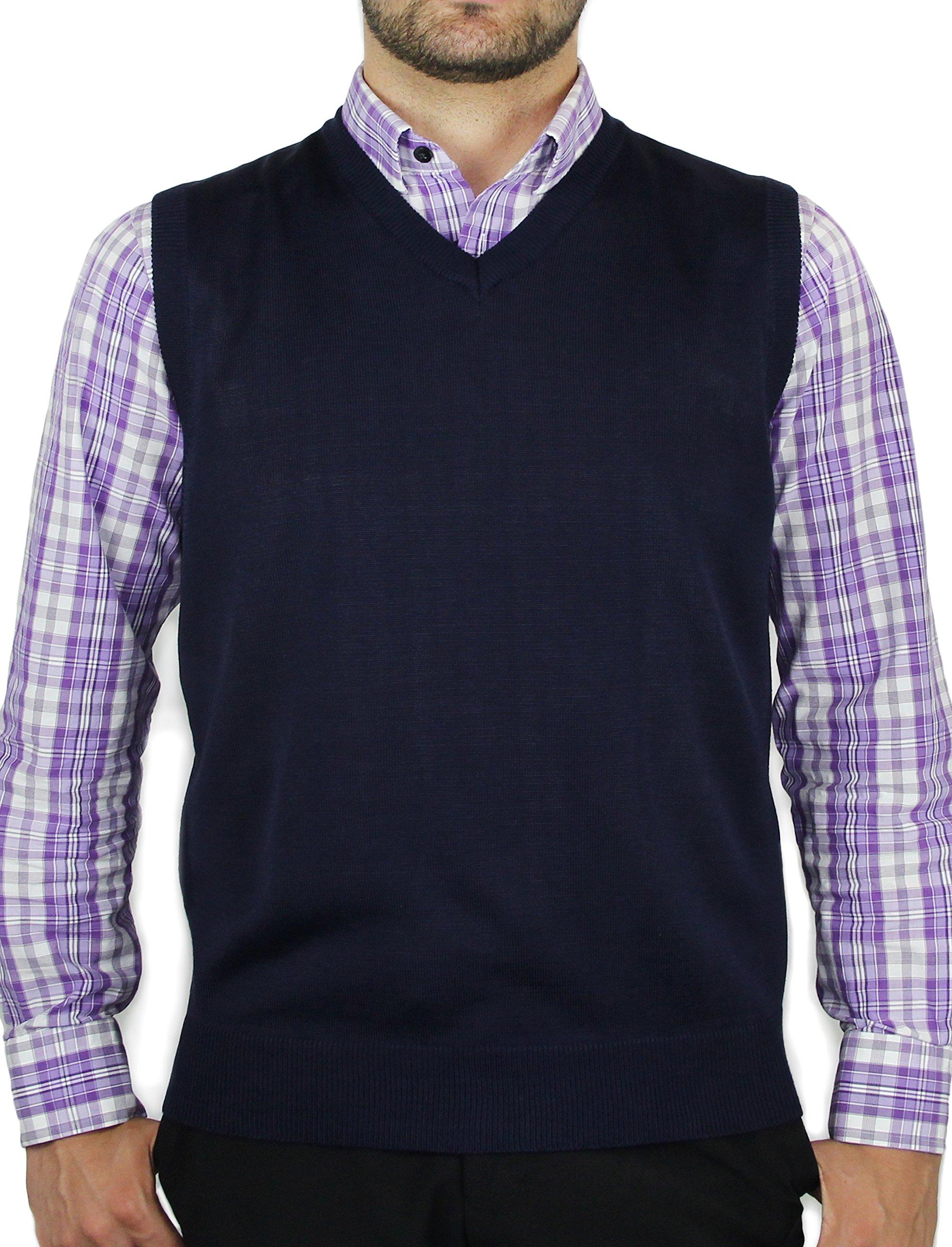 Blue Ocean Solid Color Sweater Vest-3X-Large Navy by Blue Ocean