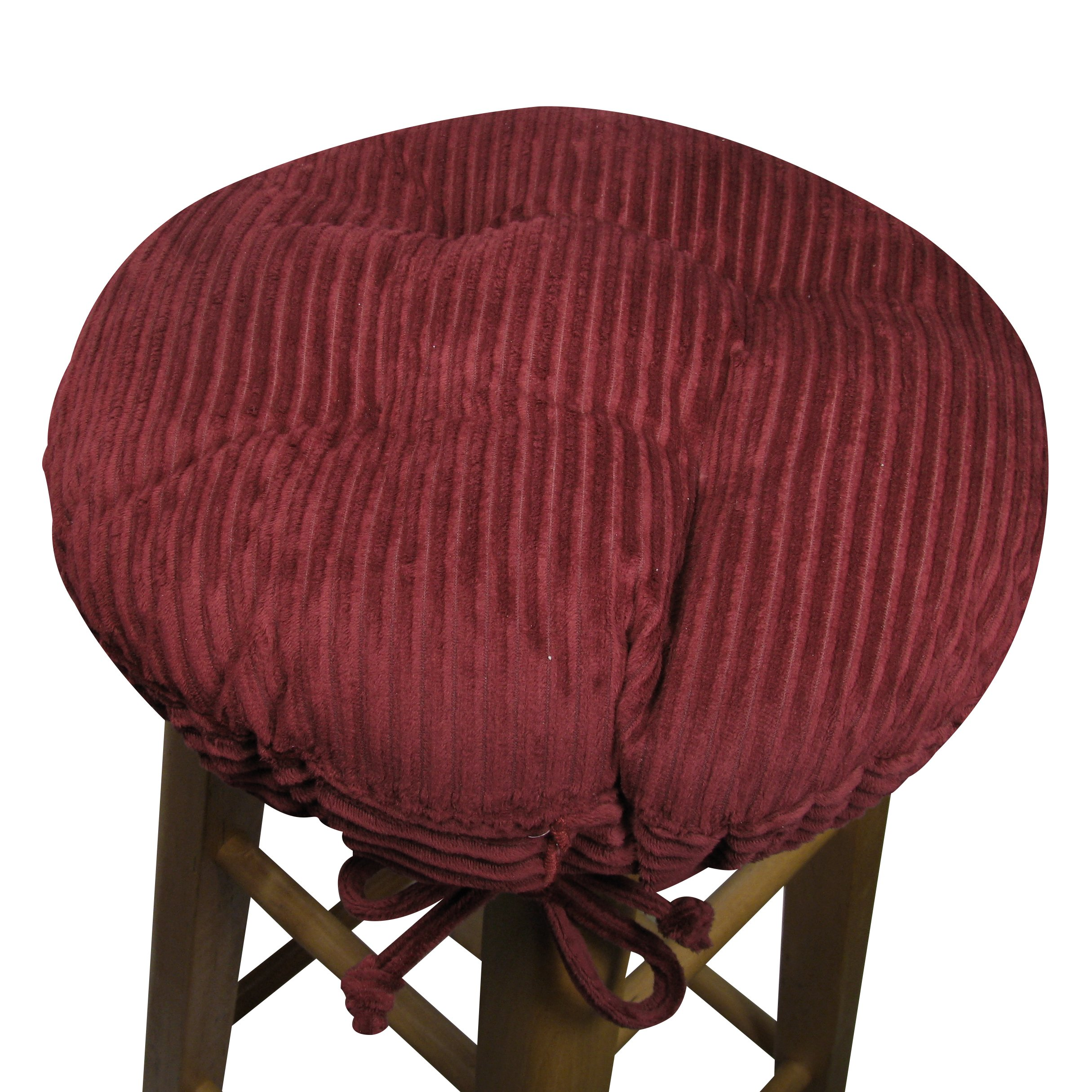 13'' Round Bar Stool Cover with Adjustable Drawstring Yoke - Wide Wale Wine Red Corduroy - Standard Size - Latex Foam Fill Barstool Cushion - Made in USA