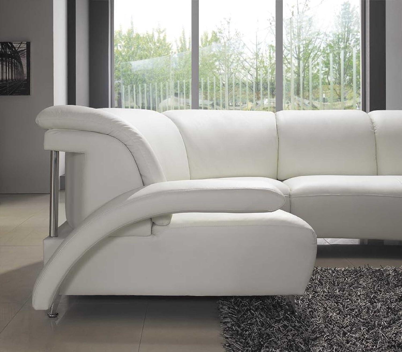 Amazon Model 104 Modern White Leather Sectional Sofa