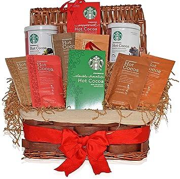 Amazon starbucks christmas hot cocoa variety decorative gift starbucks christmas hot cocoa variety decorative gift basket 6 different flavors peppermint double negle Choice Image