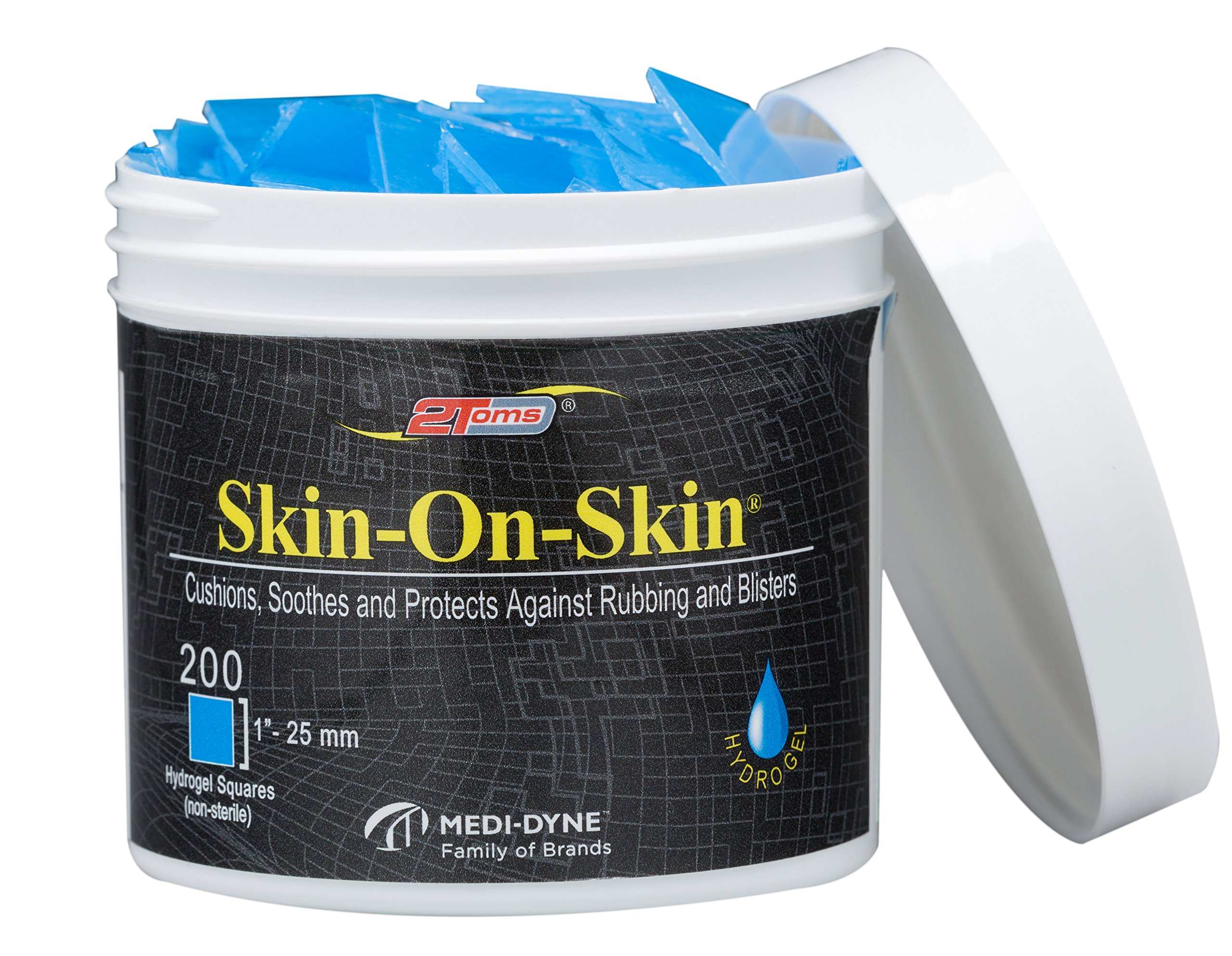 2Toms Skin-On-Skin Soothing Hydrogel Square Pads for Blister Protection and Skin Pain Relief, 200 Squares (1'')