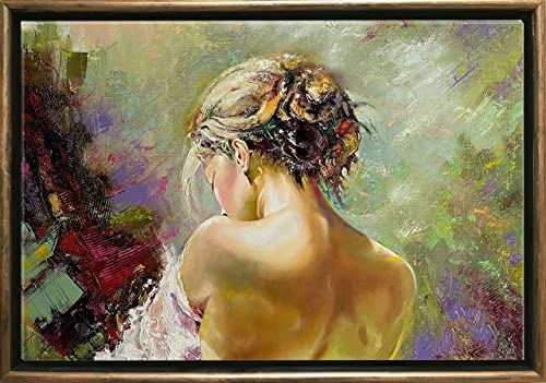 Startonight Luxury Framed Art Bronze Sexy Back of a Woman Dual View Surprise 27.56 Inch