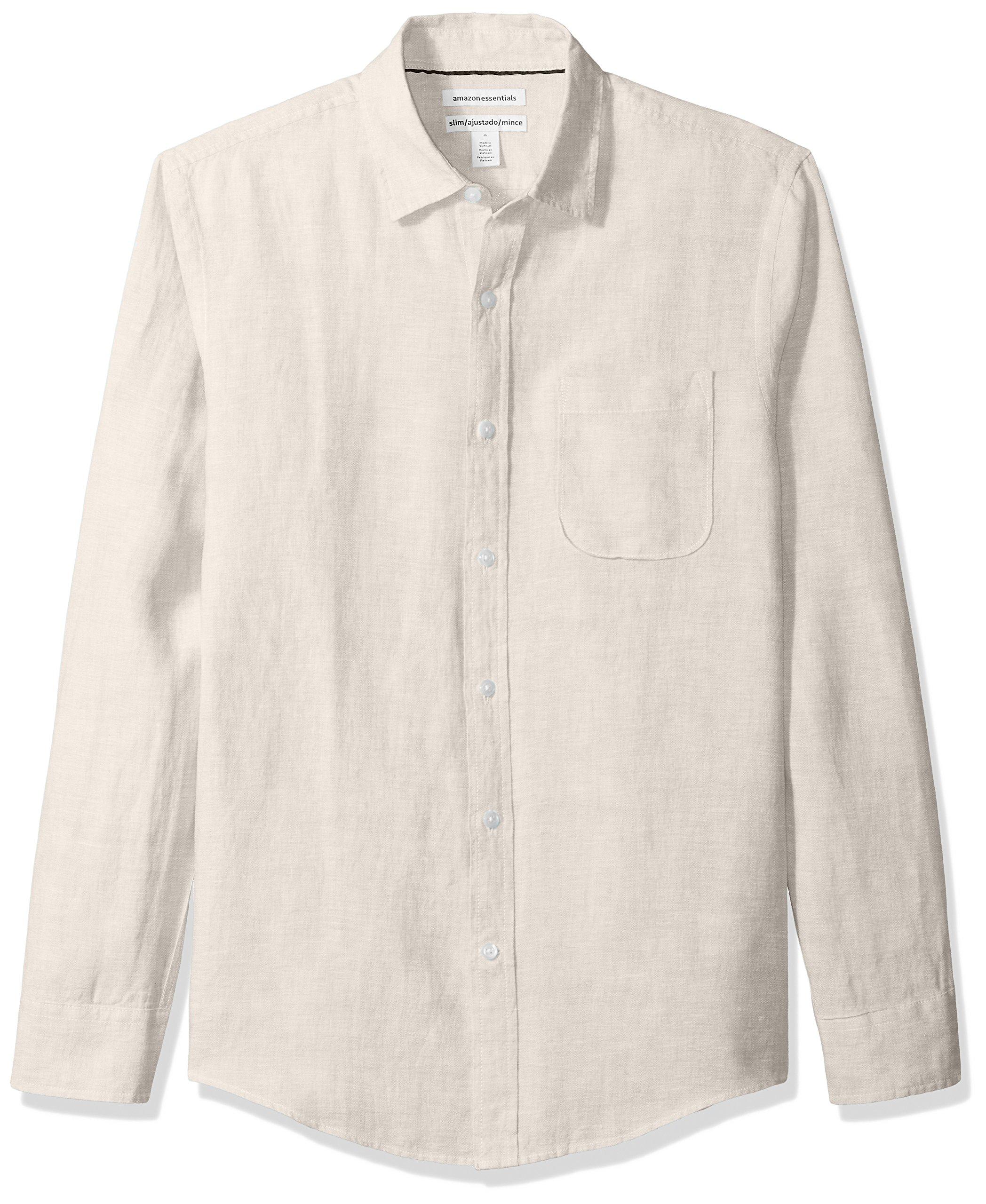 Amazon Essentials Men's Slim-Fit Long-Sleeve Linen Shirt, Natural, X-Large