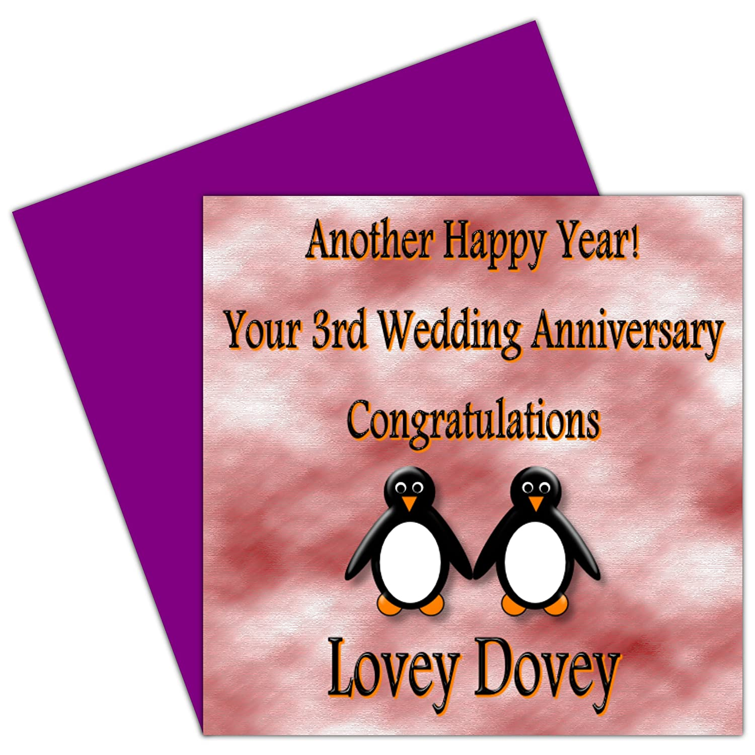 On Your 3rd Wedding Anniversary Card - 3 Years - Leather Anniversary ...
