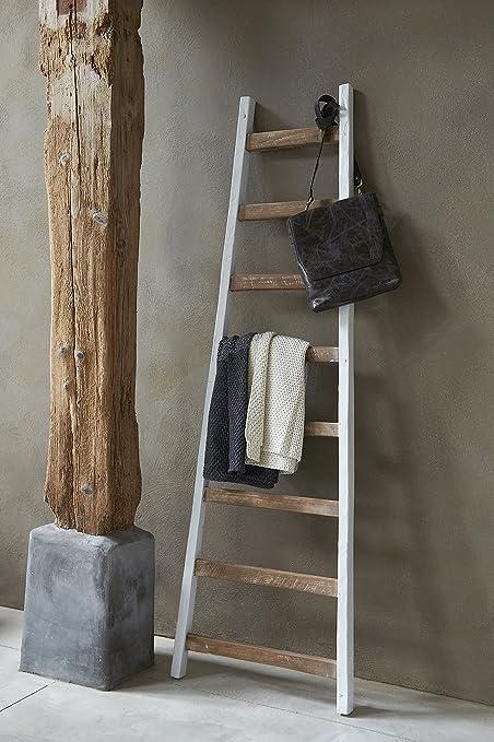 Solo Deko de escalera de madera, h175 cm, Vintage, Shabby, toallero, perchero, madera de teca/Color Blanco: Amazon.es: Hogar