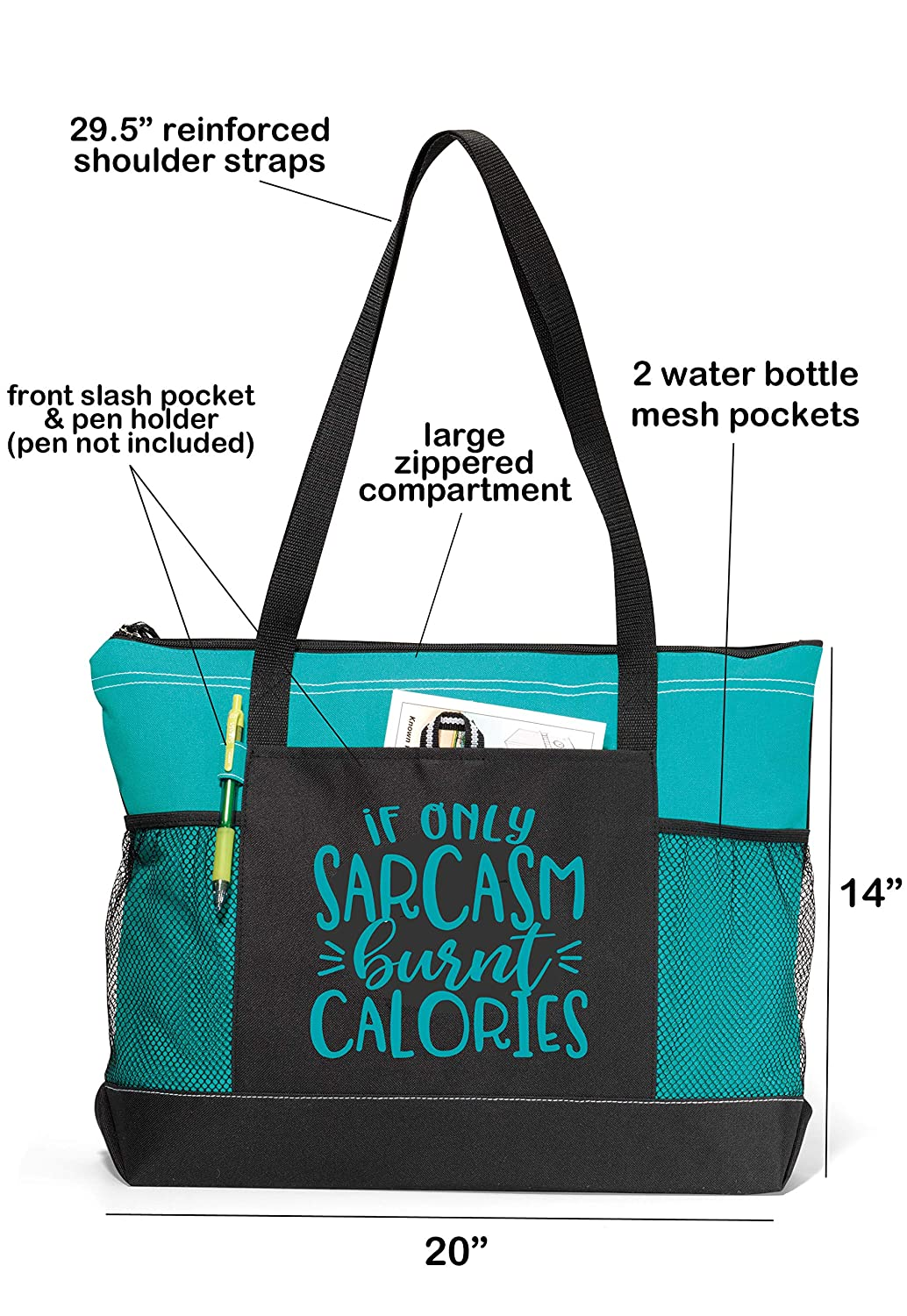 If Only Sarcasm Burnt Calories Pink Workout Tote Funny Gym Fitness Sayings Gym Tote Bag, If Only Sarcasm Burnt Calories Pink Fitness Tote Bag for Women Gym Tote Bag for Women