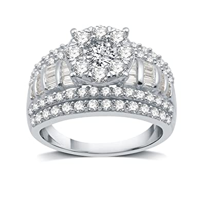 2Ct Enement Rings | Decarat 2 Ct T W Diamond Sterling Silver Round Frame Fancy