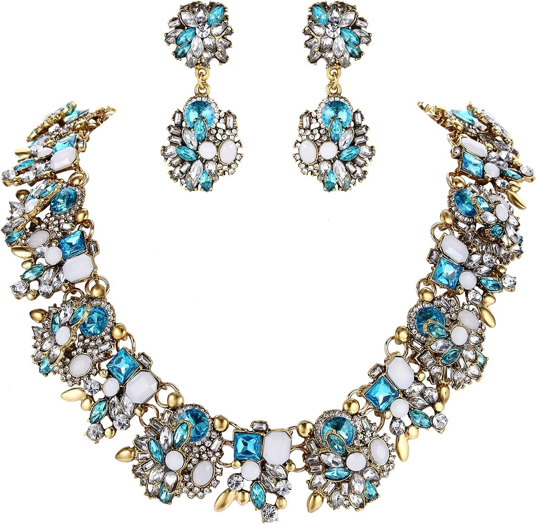 Clearine Mujer Tribal Étnico Cristal Forma-Mixta Racimo Brillante Collar Colgante Pendientes Conjunto