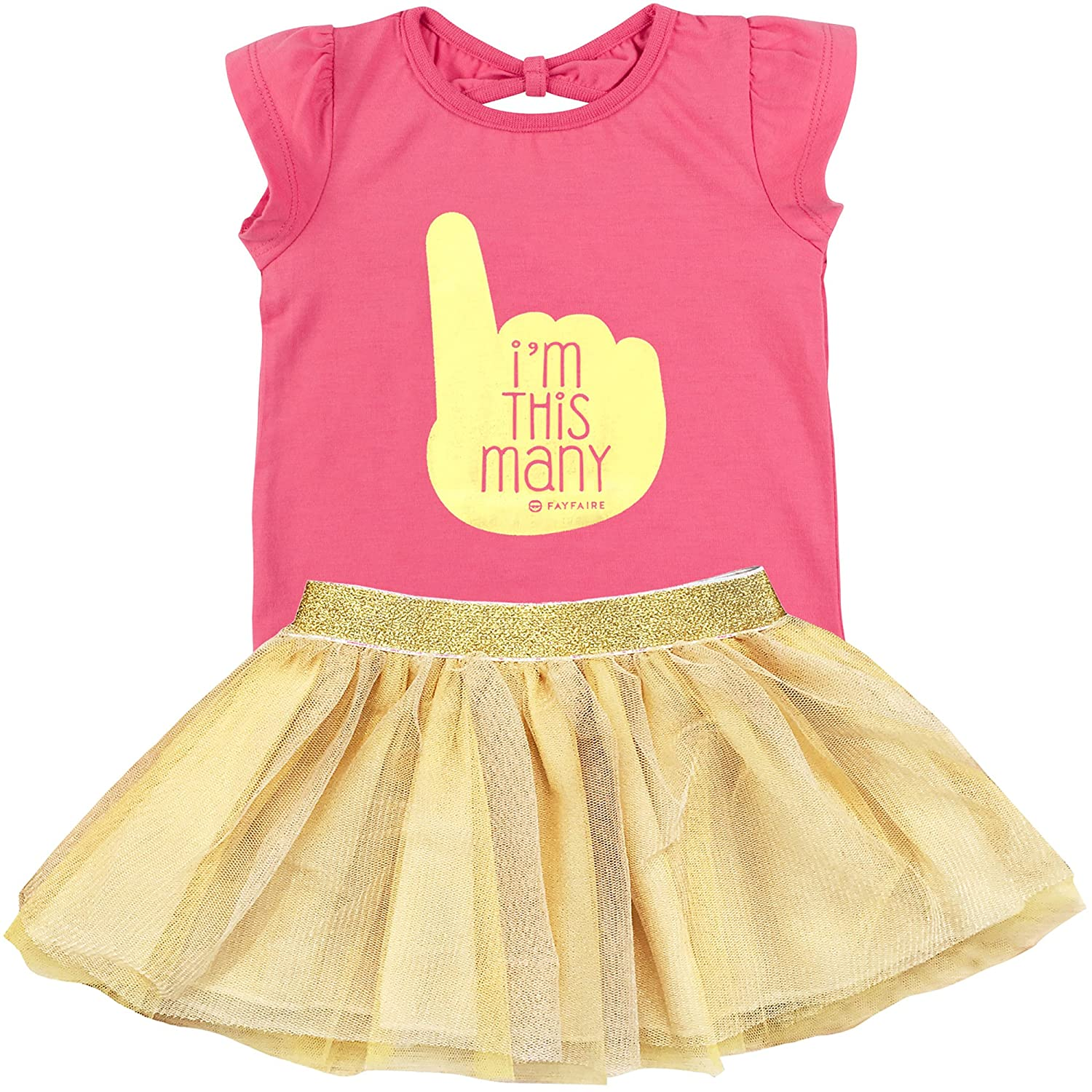 Fayfaire First Birthday Shirt Outfit: Boutique Quality 1st Bday Girl I'm This Many 12-18M
