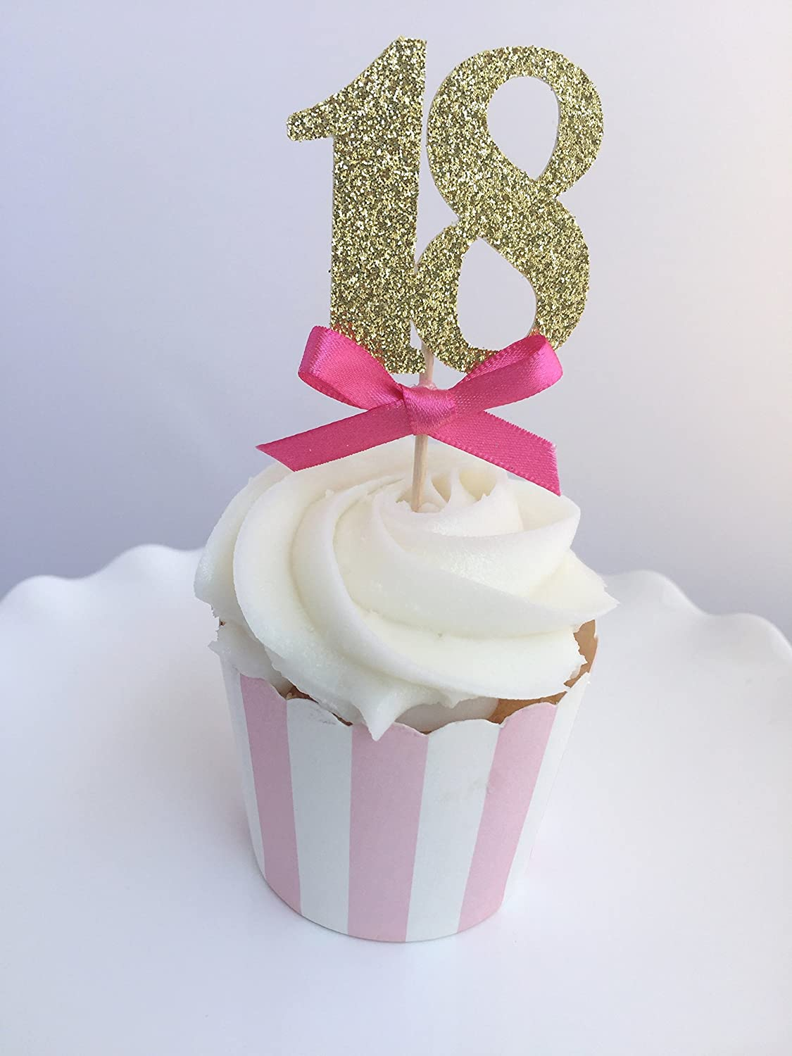 Outstanding Amazon Com Pink Gold Glitter Number Cupcake Toppers 18Th Funny Birthday Cards Online Inifofree Goldxyz