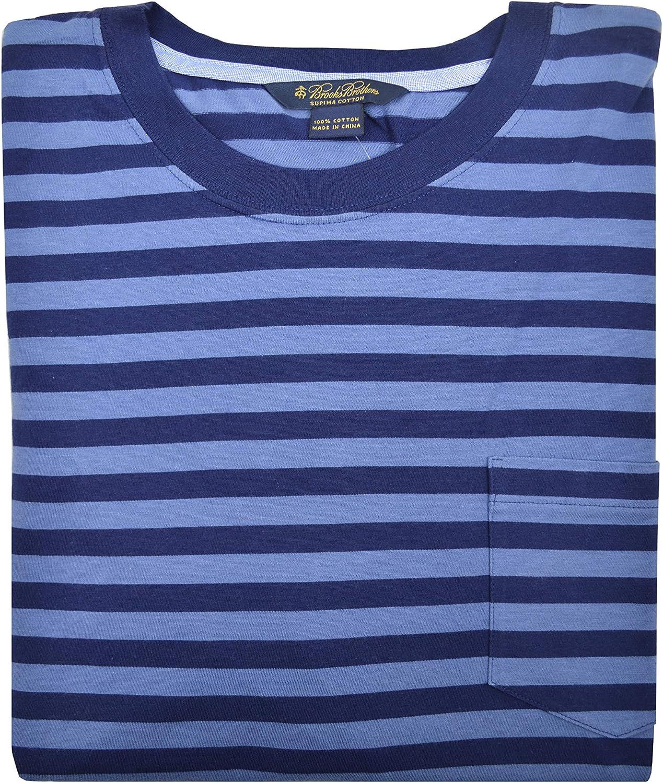 Brooks Brothers Mens Soft Knit Supima Cotton Striped Crewneck Pocket Tee T-Shirt