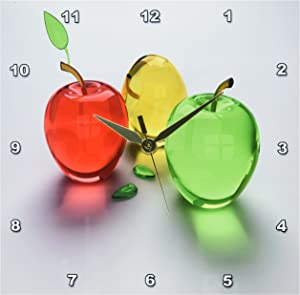 3dRose DPP_98432_1 Glass Apples in Red Yellow N Green-Wall Clock, 10 by 10-Inch
