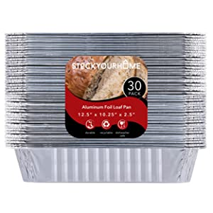 "9 x 13 Aluminum Foil Pans (30 Pack) - Disposable Half Size Steam Table Deep Pans Great for Restaurants, Parties, BBQ, Catering, Baking, Cooking, Heating, Storing, Prepping Food – 12.5"" x 10.25"" x 2.5"""