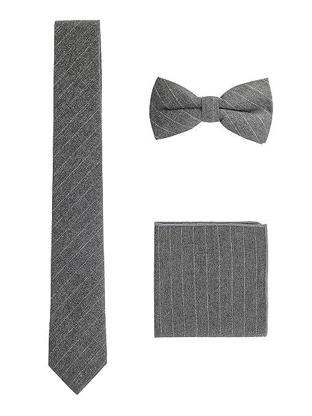 Hombre Pajarita Clásica 6*12 cm & Corbata Estrecha 6 cm & Pañuelo de Bolsillo 3 en 1 Set - Liso BH3lD