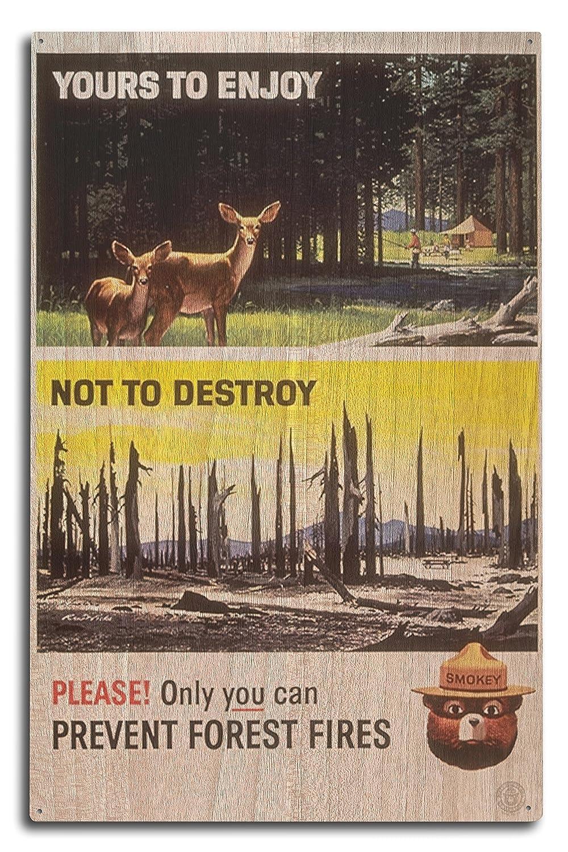 Smokey Bear – Not to Destroy – ヴィンテージポスター 10 x 15 Wood Sign LANT-79797-10x15W B07366L9M5  10 x 15 Wood Sign