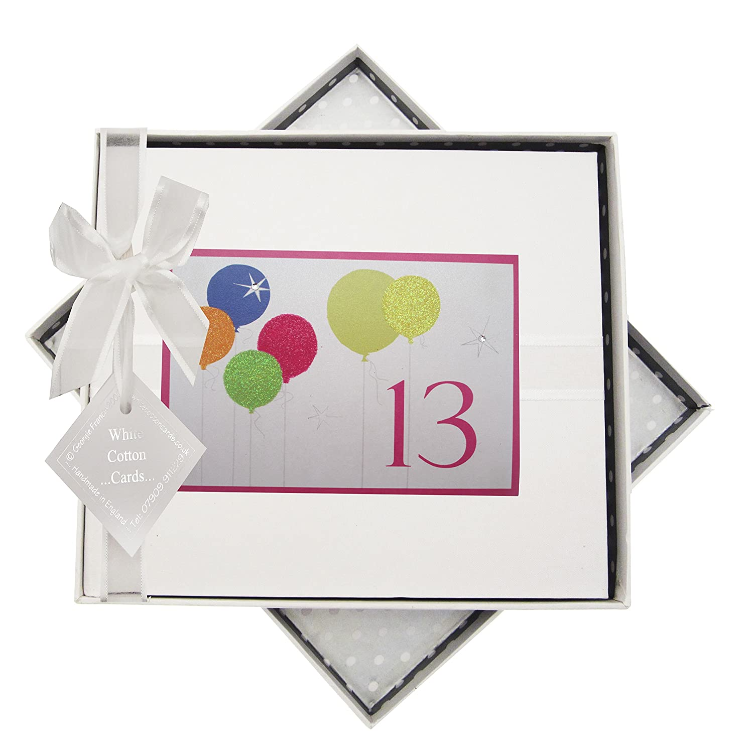 White Cotton Cards 13th Birthday, Guest Book, Neon Glitter Balloons BAL13G