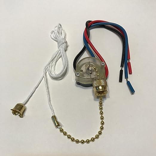 Ventilador de techo Tire cadena interruptor latón 3 velocidad OFF-ON (un) -on (B) -on (a & b) con 6