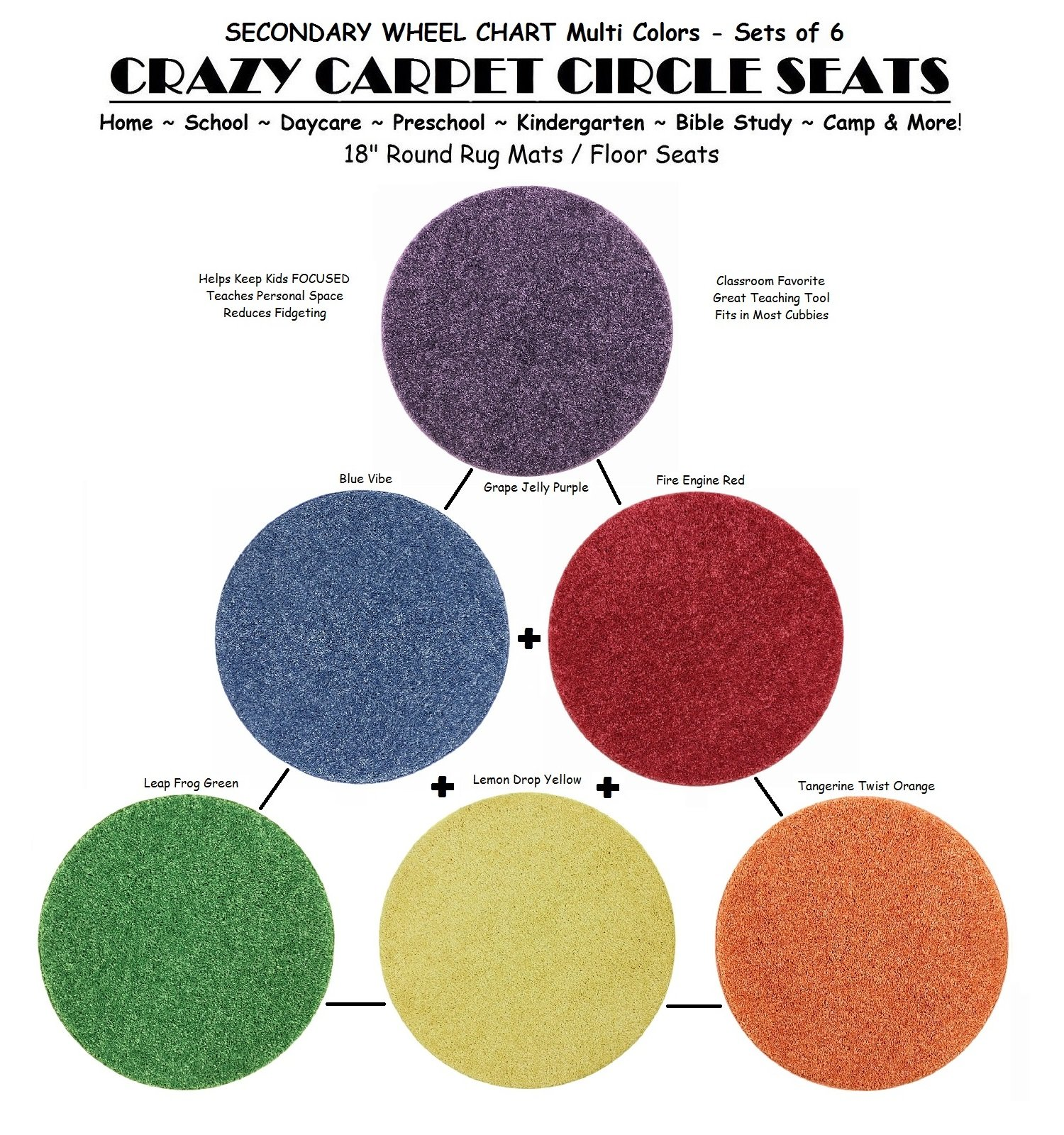 Children's CraZy CarPet CirCle SeaTs SECONDARY Wheel Chart Multi Color (Sets of 6) 18'' Rug Mats / Individual Floor Rugs (2 Sets of 6 = 12 Seats) by Children's Choice