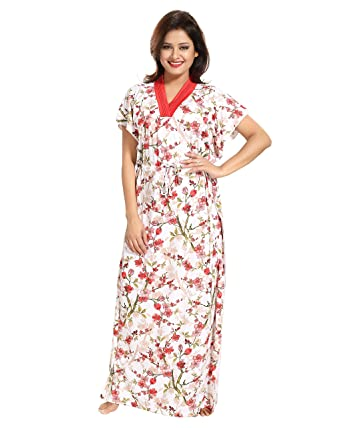 deaa8bdb8a TUCUTE Women s Girls Floral Print Kaftan Style Nighty Night Gown Nightwear.  Style  1322 (Red)  Amazon.in  Clothing   Accessories