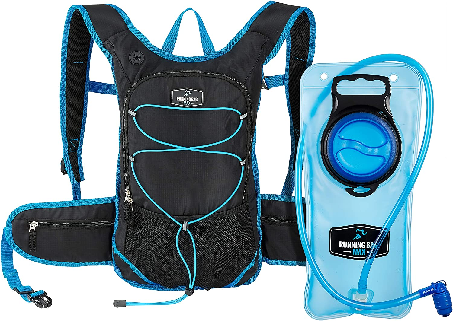 Running Bag Max Hydration Backpack With 2L Bladder and Thermal Insulated Pocket Keeps Water or Other Liquids Cool up to 4 Hours for Running, Hiking, Camping, Cycling, any Outdoor Activity, in Black