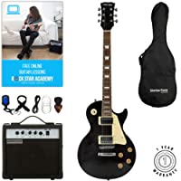 Stretton Payne LP Electric Guitar with practice amplifier, padded bag, strap, lead, plectrum, tuner, spare strings. Guitar in Black