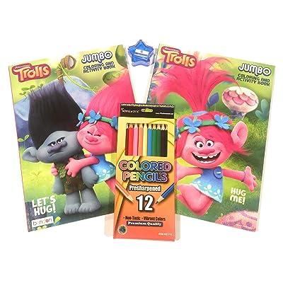 Trolls Jumbo Coloring and Activity Bundle(4) 2 Jumbo Coloring/ Activity Books, 12pk Color Pencils (Plus a Free Star Pencil Sharpener): Toys & Games [5Bkhe2002629]