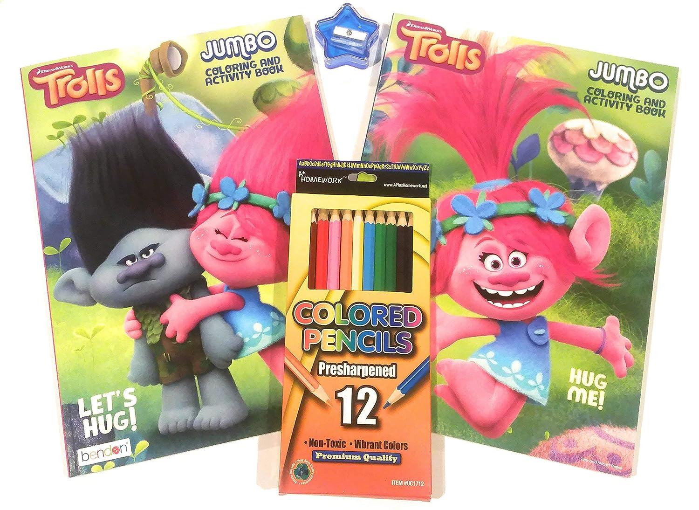 12pk color pencils 4 Plus a FREE Star Pencil Sharpener 2 Jumbo Coloring// Activity Books Trolls Jumbo Coloring and Activity Bundle