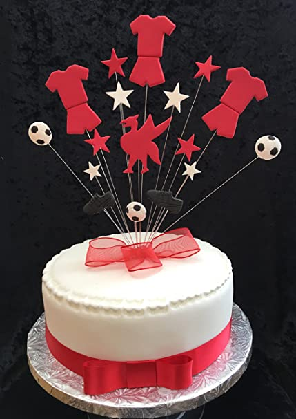 Liverpool Football Birthday Cake Topper PLUS 1 x Metre 25mm Red