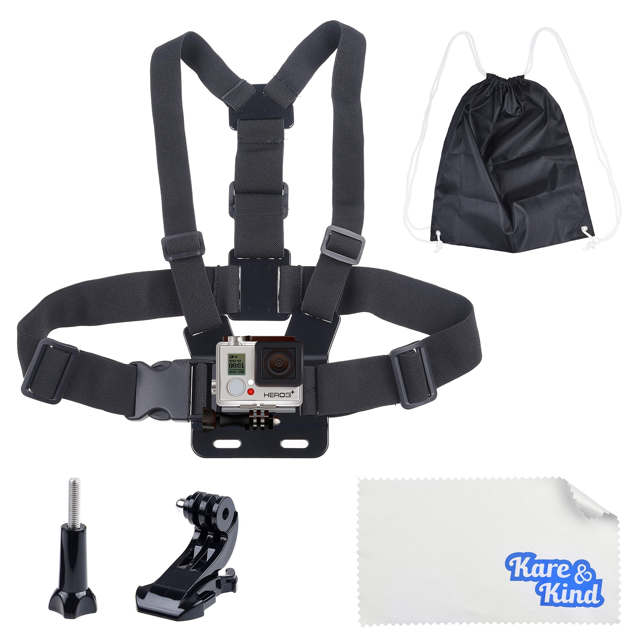 Kare & Kind Chest Mount Harness Compatible with GoPro Hero7, 6, 5, 4, Hero Session, Black, Silver, Hero+, LCD, Hero3+, 3, 2, 1, DJI OSMO Action - Adjustable Chest Strap - for Action Sports and Outdoor by Kare Kind