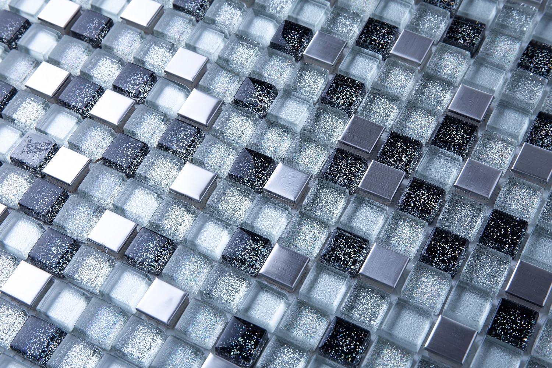MT0151 30cm x 30cm Matte Glas und Geb/ürstet Edelstahl Mosaik Fliesen Silber und Schwarz mit Glitzer