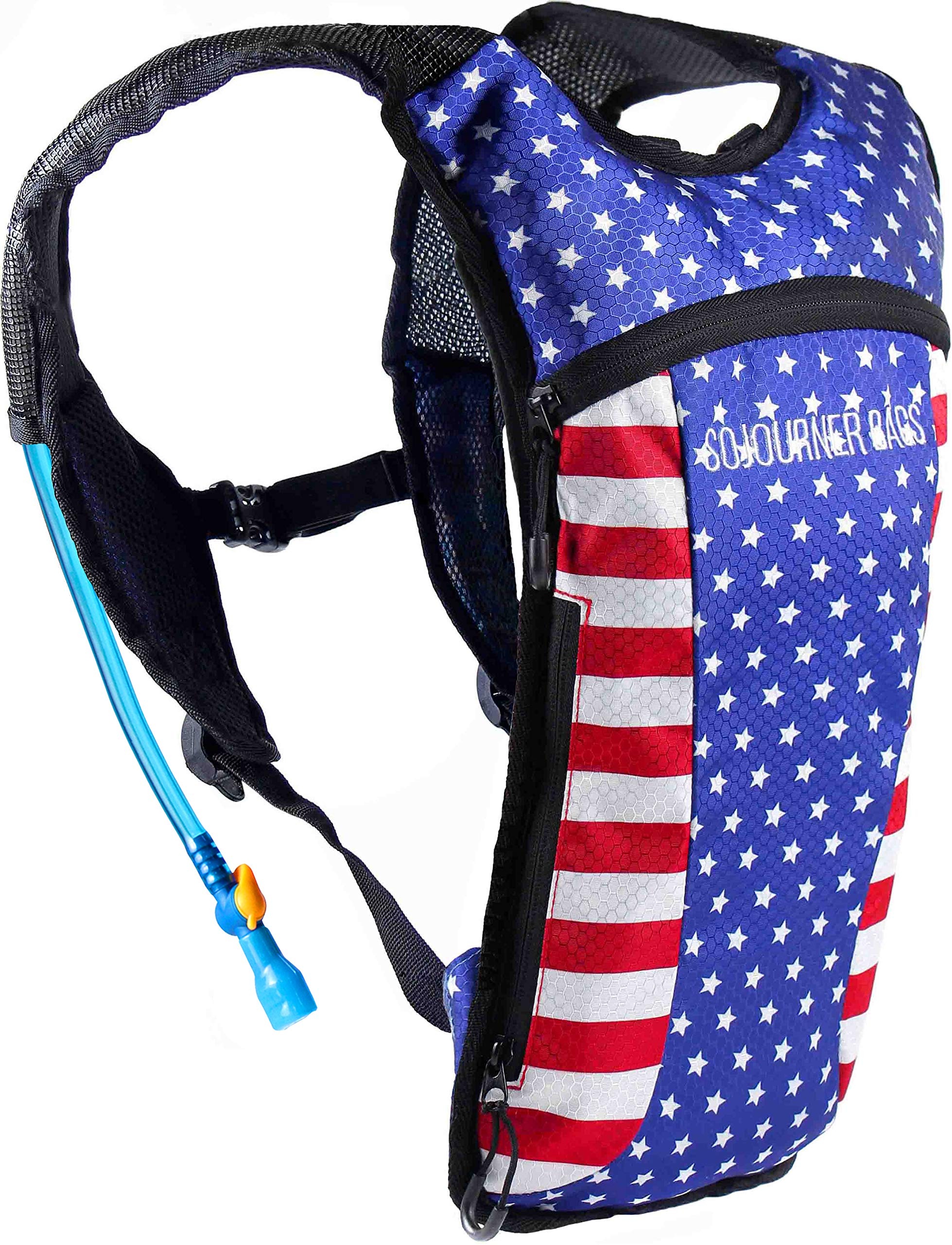 Sojourner Hydration Pack Backpack - 2L Water Bladder Included for Festivals, Raves, Hiking, Biking, Climbing, Running and More (USA - American Flag) by SoJourner Bags