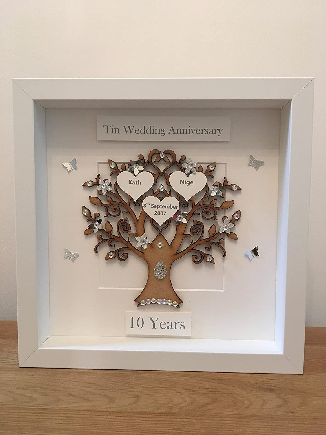 Personalised 10 Years Tin Wedding Anniversary Family Tree Picture
