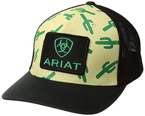 b7b3990d630247 Amazon.com: ARIAT Men's Black Cactus Patch Logo Cap, Ivory, OSFM ...
