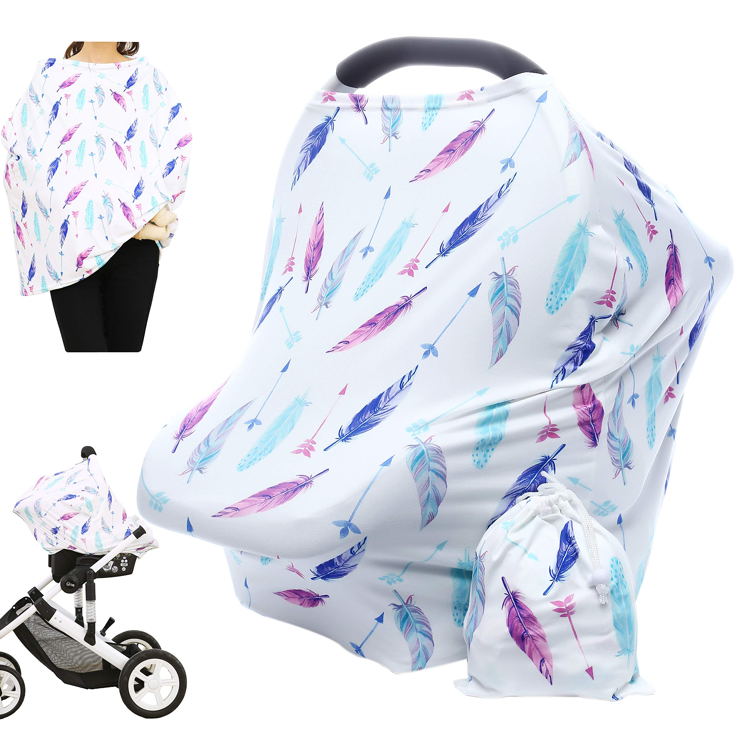 Hicoco Nursing Cover Carseat Canopy - Baby Breastfeeding Cover, Car Seat Covers for Babies, Multi Use Nursing Scarf, Infant Stroller Cover, Boys and Girls Shower Gifts (Feather) by Hicoco