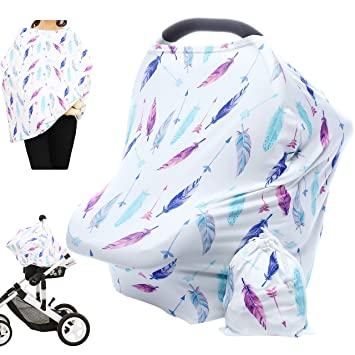 Amazon Com Hicoco Nursing Cover Carseat Canopy Baby Breastfeeding Cover Car Seat Covers For Babies Multi Use Nursing Scarf Infant Stroller Cover Boys And Girls Shower Gifts Feather Baby