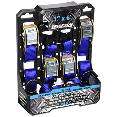 "Erickson 35605 Light Duty Cam Lock Tie-Down Strap, 4 Pack (1\"" x 6\', 1200 lb Load Capacity): Automotive [5Bkhe2006410]"